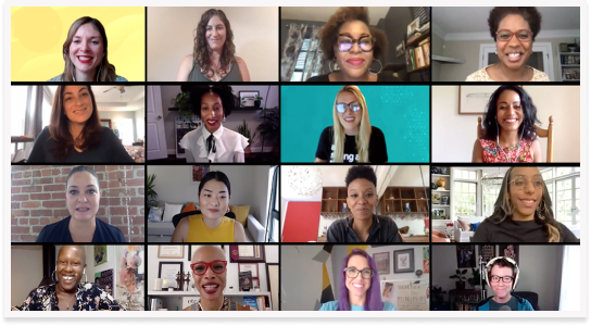 Diverse Zoom meeting with people smiling.